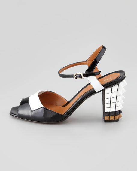 Runway Patent Pyramid Stud-Heel Sandal, Black/White