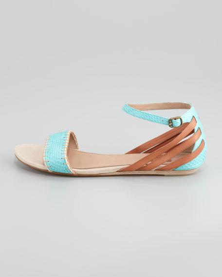 Karina Snake-Embossed Flat Sandal, Aqua