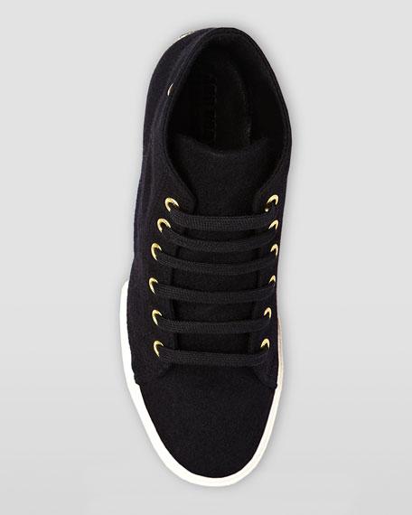 Hi-Top Faille Lace-Up Sneaker, Black
