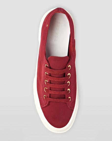Low-Top Faille Lace-Up Sneaker, Cranberry