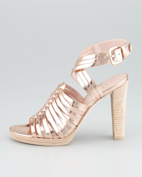 Arriba Huarache Ankle-Wrap Sandal, Rose