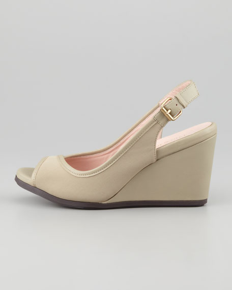 Stretch Slingback Peep-Toe Wedge