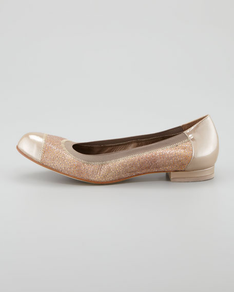 Cate Cap-Toe Reptile-Print Ballerina Flat, Sand