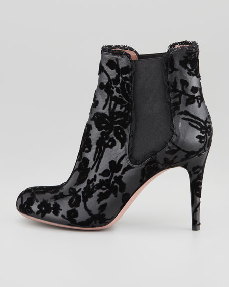 Flocked Lace Leather Bootie