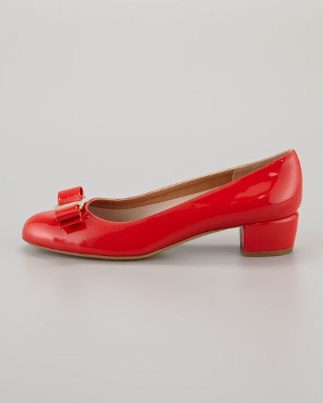 Vara Bow Low-Heel Pump, Lava