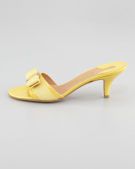 Glory Patent Bow Slide Sandal, Vanilla