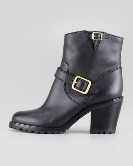 Buckled Bloch-Heel Motorcycle Boot, Black