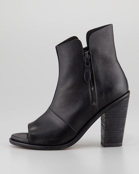 Noelle Peep-Toe Leather Ankle Boot