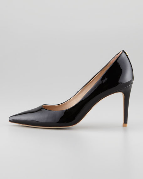 Ivy Pointed-Toe Patent Leather Pump, Black