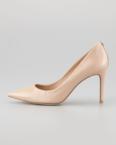 Ivy Pointed-Toe Patent Leather Pump, Beige