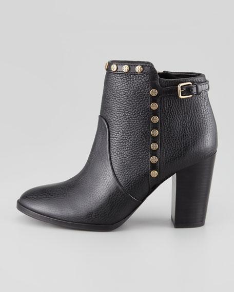 Mae Logo-Studded Ankle Boot, Black