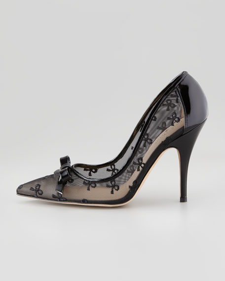 lisa bow-print mesh pump, black