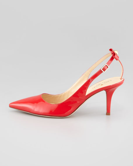 patent bow-back slingback pump