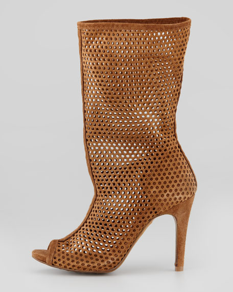 Sira Perforated Peep-Toe Boot