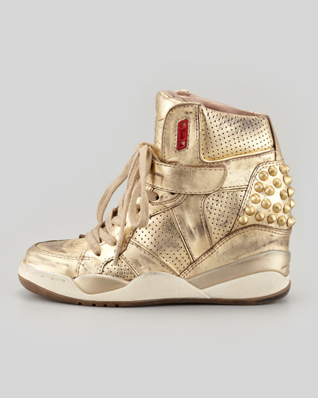Freak Metallic Studded Sneaker, Gold