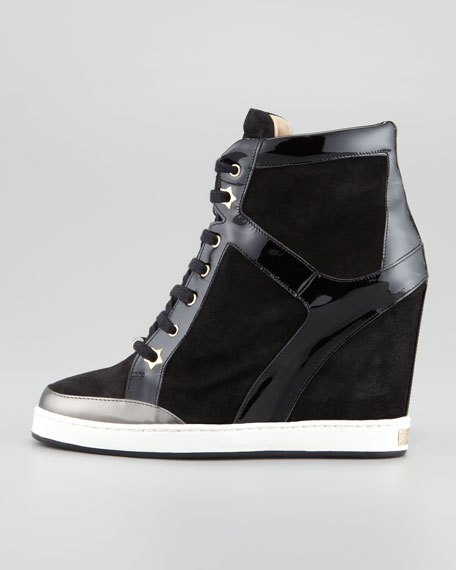 Panama Suede-Patent Leather Wedge Sneaker