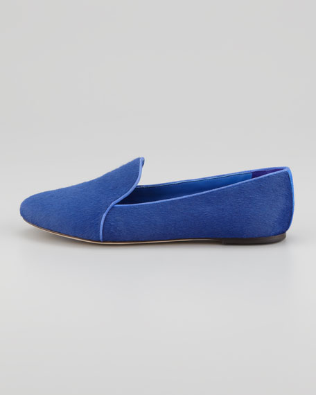 Claudelle Calf Hair Smoking Slipper, Blue