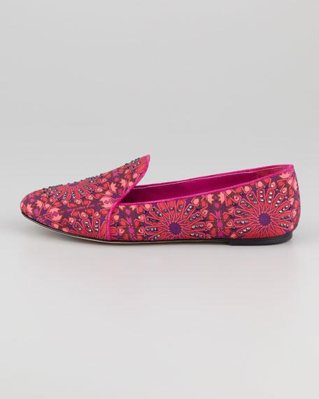 Claudelle Moroccan-Print Smoking Slipper, Pink-Multi