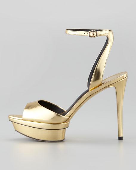 Femme Fatale Mirrored Platform Sandal, Gold