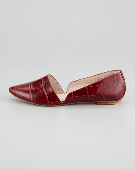 Merri Croc-Embossed d'Orsay Flat, Red