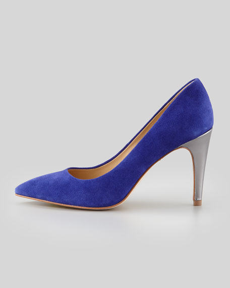 Anette Metallic-Heel Suede Pump, Blue