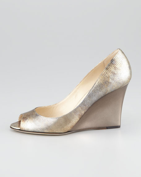 Baxen Peep-Toe Lizard-Print Wedge Pump