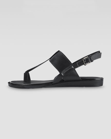 Pelham Flat Leather Sandal, Black