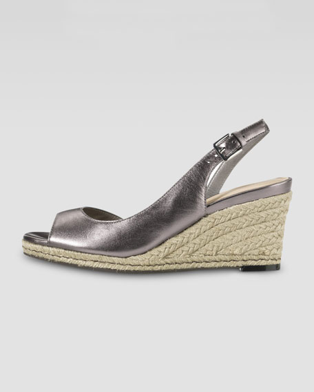 Adelaide Metallic Leather Mid-Wedge, Gunsmoke