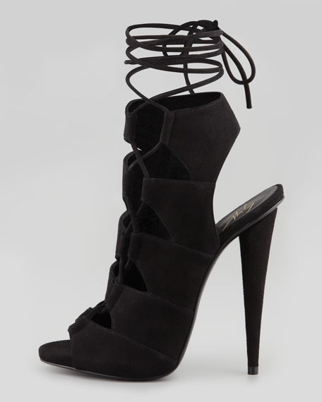 Suede Side-Lace Ankle-Tie Sandal
