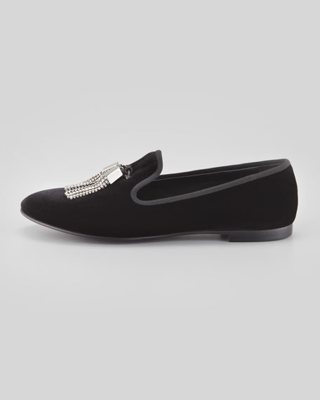 Velvet Crystal Tassel Smoking Slipper