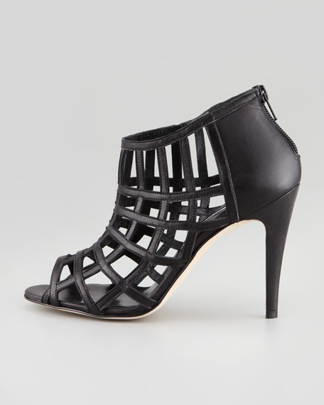 Poslyna Leather Cage Sandal, Black