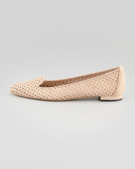 Sharifac Perforated Suede Flat, Beige
