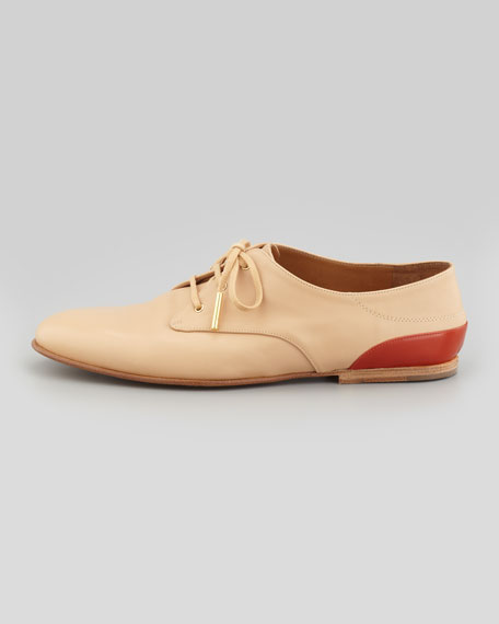 Flat Leather Contrast-Back Derby