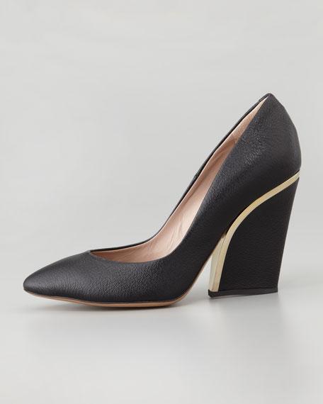 Golden-Heeled Leather Wedge Pump, Black