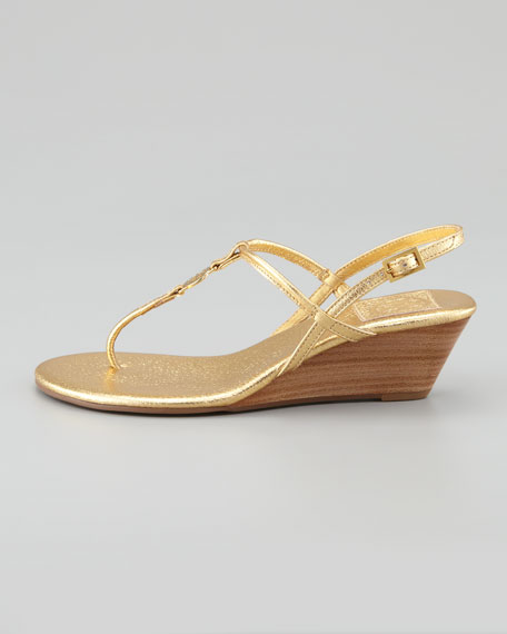 Emmy Demi Wedge Thong Sandal, Gold