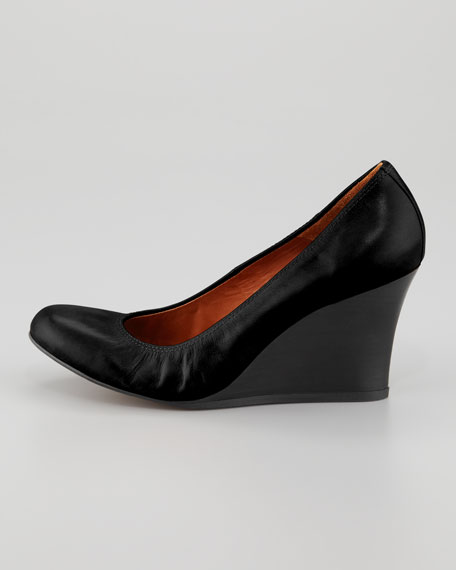 Calfskin Ballerina Wedge Pump, Black