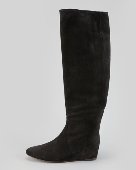 Suede To-the-Knee Wedge Boot, Black