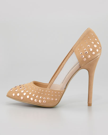 Calista Studded Mesh-Inset Suede Pump