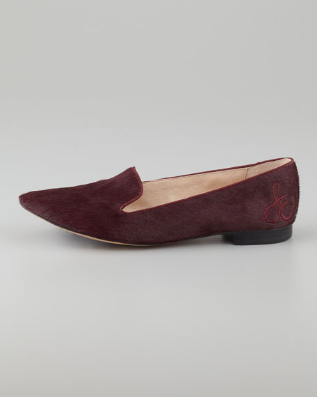 Alvin Calf Hair Smoking Slipper, British Burgundy