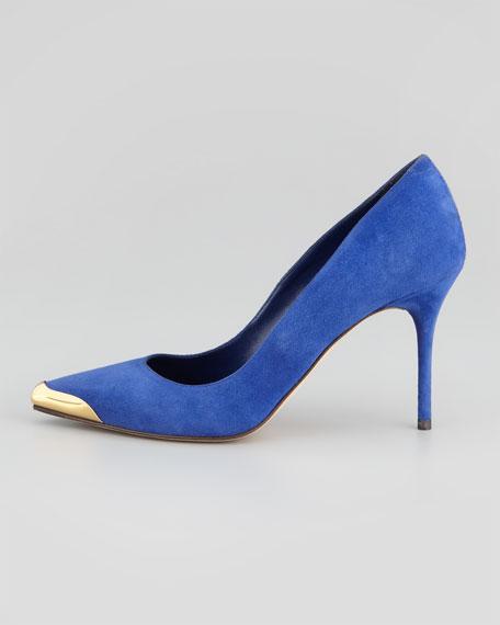 Pointed Metal-Toe Suede Pump Royal Blue