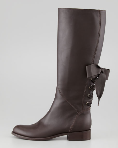 Ascot Ribbon Lace-Up Riding Boot