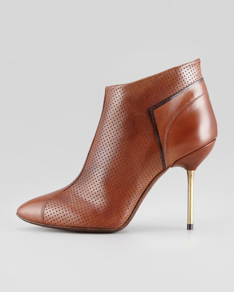 Rowan Perforated Leather Bootie, Saddle