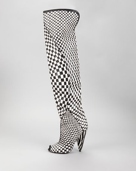 Woven Leather Over-the-Knee Boot, Black/Chalk
