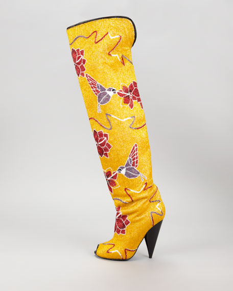 Hummingbird & Floral Fully Embroidered Over-the-Knee Boot, Yellow