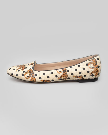 Blaise Tiger Dot Smoking Slipper, Ivory/Black
