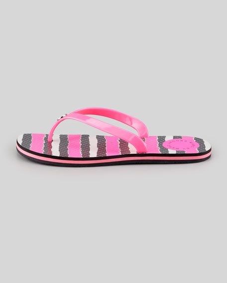 Anemone Striped Flip-Flop, Pink