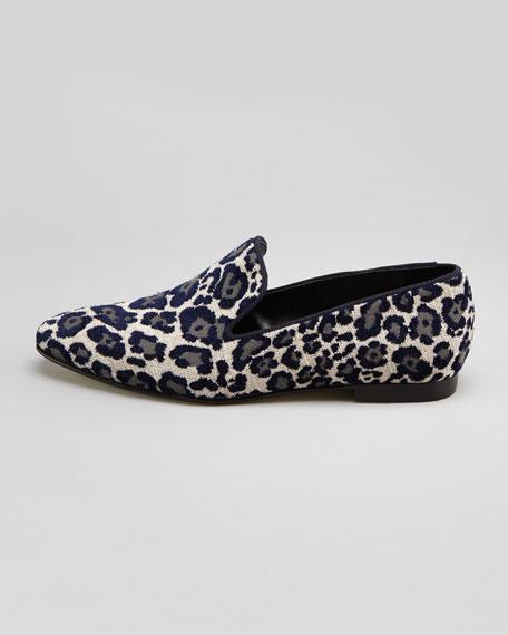 Chenille Leopard Smoking Slipper, Blue/Beige