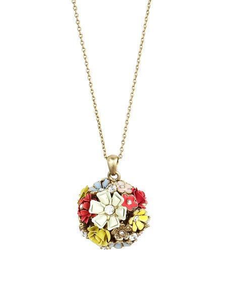 Floral-Cluster Pendant Necklace