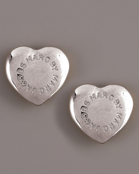 Domed Heart Logo Stud Earrings