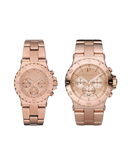 Mini-Size Rose Golden Stainless Steel Dylan Chronograph Watch